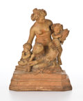 Fine Art - Sculpture, European:Other , PATINATED TERRA-COTTA SATYR FIGURAL GROUP, AFTER MICHEL CLAUDECLODION (FRENCH, 1738-1814) . France, circa 1900. Marks:Cl...
