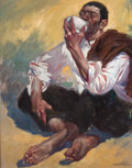 Fine Art - Painting, European:Contemporary   (1950 to present)  , MANUEL MONEDERO (Spanish, 1925-2002). Seated Man Drinking. Oil on canvas. 45-1/2 x 35-1/2 inches (115.6 x 90.2 cm). Sign...