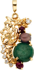 Estate Jewelry:Pendants and Lockets, Emerald, Sapphire, Ruby, Diamond, Gold Pendant. ...
