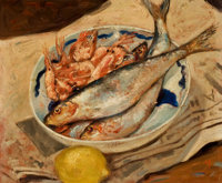 DEREK MYNOTT (British, b. 1926) Still Life with Fish and Shrimp Oil on board 14 x 16 inches (35.6