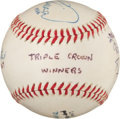 Baseball Collectibles:Balls, Triple Crown Winners Multi Signed Baseball....