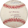 Baseball Collectibles:Balls, Players with 3+ Cy Young Awards Multi Signed Baseball....