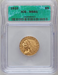 1910 $5 MS61 ICG. NGC Census: (171/4801). PCGS Population (344/2806). Mintage: 604,250. Numismedia Wsl. Price for proble...