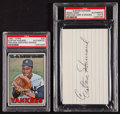 Baseball Collectibles:Others, Elston Howard Signed Index Card and 1967 Topps Example....