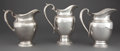 Silver Holloware, American:Pitchers, THREE AMERICAN SILVER WATER PITCHERS BY GORHAM AND INTERNATIONAL .Circa 1950. Marks: (lion-anchor-G) GORHAM, STERLING, 4 ...(Total: 3 Items)