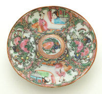 GROUP OF TWELVE CHINESE EXPORT PORCELAIN ROSE MEDALLION PLATES circa 1850-1900 4-1/2 inches across (11.4 cm)
