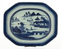 Ceramics & Porcelain, CHINESE EXPORT BLUE AND WHITE PLATTER WITH CANTED CORNERS . circa 1850-1900. 15-3/4 inches long (40.0 cm). ...