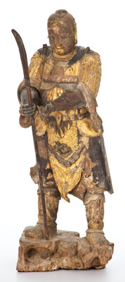 JAPANESE CARVED AND PARCEL GILT POLYCHROME GUARDIAN FIGURE 30 inches high (76.2 cm)