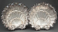 Silver Holloware, Continental:Holloware, PAIR OF LARGE SPANISH SILVER SHELL-FORM DISHES RAISED ON THREEWINGED MONOPOD FEET . Circa 1900. Marks: (star), (unidentifie...(Total: 2 Items)