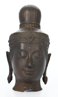 Asian:Other, PATINATED THAI BRONZE BUDDHA HEAD ON STAND . 9-3/4 inches high(24.8 cm) (bronze). ... (Total: 2 Items)