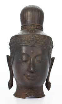 PATINATED THAI BRONZE BUDDHA HEAD ON STAND 9-3/4 inches high (24.8 cm) (bronze)