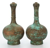 PAIR OF CHINESE BRONZE GARLIC-HEAD VASES WITH VERDIGRIS PATINATION 15-7/8 inches high (40.3 cm) each