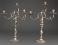Silver Holloware, Continental:Holloware, PAIR OF J.H. HELWEG SILVER THREE-LIGHT SCROLLED ARM CANDELABRA .Amsterdam, The Netherlands, circa 1880. Marks: (lion with k...(Total: 4 Items)