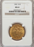 Liberty Eagles: , 1903 $10 MS61 NGC. NGC Census: (340/563). PCGS Population(155/426). Mintage: 125,800. Numismedia Wsl. Price for problemfr...