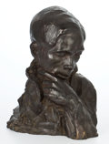 Sculpture, CONTEMPORARY RUSSIAN PATINATED BRONZE BUST: YOUNG MAN THINKING. Signature inscribed illegibly: Konstantina Mil......