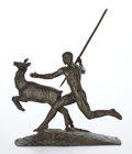 Sculpture, PATINATED BRONZE AFTER PAUL MAXIMILIEN LANDOWSKI (FRENCH, 1875-1961): THE DEER HUNTER . Paris, 1922. Marks: F. BAR...