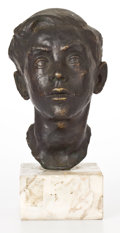 Bronze:Contemporary, FRENCH CONTEMPORARY PATINATED BRONZE HEAD OF A BOY . Marks:(illegible signature at base of neck) . 12 x 6 x 9 inches (30.5 ...