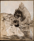 Fine Art - Work on Paper:Drawing, AUGUSTE LOUIS LEPÈRE (French, 1849-1918). Bords de la Nie.Charcoal, gouache, and white chalk on paperboard. 15-1/4 x 13...