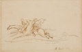 Fine Art - Work on Paper:Drawing, ALBERT BESNARD (French, 1849-1934). A Set of Three Drawings inFrench Mats, 1863. Graphite and pen and ink on paper. She...(Total: 3 Items)