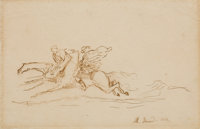 ALBERT BESNARD (French, 1849-1934) A Set of Three Drawings in French Mats, 1863 Graphite and pen and