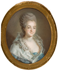 Attributed to JOSEPH DUCREUX (French, 1735-1802) Portrait of a Young Woman with an Elaborate Powdered Coiffure<...