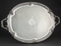 Silver Holloware, French:Holloware, FRENCH SILVER OVAL TWO-HANDLED TRAY WITH CAST RAM'S HEADS ANDENGINE TURNED DECORATION, MONOGRAMMED . Circa 1890. Marks: (M...