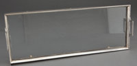 AUSTRIAN SILVERED METAL AND GLASS RECTANGULAR TWO HANDLED TRAY Marks: AUSTRIA 18-7/8 inches long (4