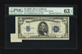 Error Notes:Attached Tabs, Fr. 1654 $5 1934D Wide I Silver Certificate. PMG Choice Uncirculated 63 EPQ.. ...