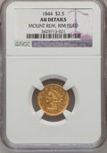 Liberty Quarter Eagles: , 1844 $2 1/2 --Mount Removed, Rim Filed-- NGC Details. AU. NGCCensus: (8/42). PCGS Population (3/16). Mintage: 6,700. Numism...