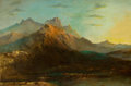 Paintings, CONTINENTAL SCHOOL (19th Century). Mountain Landscape. Oil on canvas. 23 x 36 inches (58.4 x 91.4 cm). Possible vestige ...