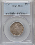 Seated Quarters: , 1877-S 25C AU55 PCGS. PCGS Population (20/285). NGC Census:(10/274). Mintage: 8,996,000. Numismedia Wsl. Price for problem...