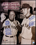 Baseball Collectibles:Photos, 1962 New York Mets 1st Win Multi Signed Oversized Photograph....