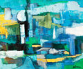 Fine Art - Painting, American:Contemporary   (1950 to present)  , HELMAN (American, 20th Century). Blue and Green Abstraction.Oil on canvas. 20 x 24 inches (50.8 x 61.0 cm). Signed lowe...