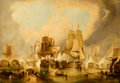 Paintings, ANGLO-DUTCH SCHOOL (18th Century). Trading Ships in the Harbor, circa 1750-1800. Oil on canvas. 24-3/4 x 36 inches (62.9...