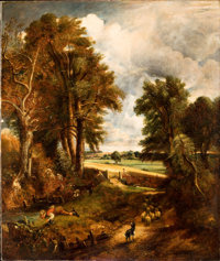 BRITISH SCHOOL (19th Century) Extensive Landscape with Boy Drinking Water from a Stream, circa 1860
