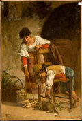 Fine Art - Painting, European:Antique  (Pre 1900), CARLO VALENSI (Italian, 19th Century). Peasants with a Cat,circa 1900. Oil on canvas. 27 x 18-1/2 inches (68.6 x 47.0 c...