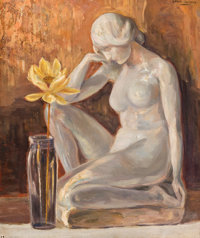 ALFRED JUERGENS (American, 1866-1934) Meditation Oil on canvas 30-1/4 x 25 inches (76.8 x 63.5 cm