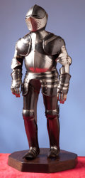 Militaria:Armor, Miniature Suit of Black and Silver Armor in the Augsburg Style. ...