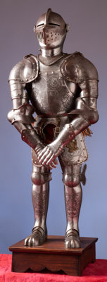 An Etched Miniature Suit of Armor in the German 16th Century Style