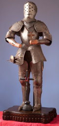 Militaria:Armor, Miniature Etched Suit of Armor with Crucifix.. ...