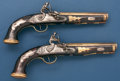 "Handguns:Muzzle loading, Magnificent Pair of ""Golden-Age"" Kentucky Pistols Signed, ""L.Gurly"", Boston, Ohio.... (Total: 2 Items)"
