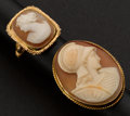 Estate Jewelry:Rings, Two Shell Gold Framed Cameo Rings. ... (Total: 2 Items)