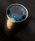 Estate Jewelry:Rings, Unusual Gold & Blue Topaz Gent's Ring. ...