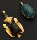 Estate Jewelry:Pendants and Lockets, Two Carved Egyptian Scarab Pendants. ... (Total: 2 Items)