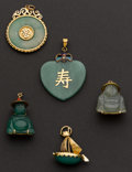 Estate Jewelry:Pendants and Lockets, Five Jadeite & Gold Pendants. ... (Total: 5 Items)