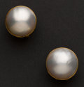 Estate Jewelry:Earrings, Early Mabe Pearl & Gold Earrings. ...