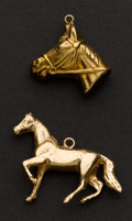 Estate Jewelry:Pendants and Lockets, Two Early Gold Horse Head Pendants. ... (Total: 2 Items)