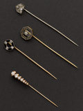 Estate Jewelry:Stick Pins and Hat Pins, Four Antique Gold Stick Pins. ... (Total: 4 Items)