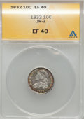 Bust Dimes: , 1832 10C XF40 ANACS. JR-2. NGC Census: (5/236). PCGS Population(18/247). Mintage: 522,500. Numismedia Wsl. Price for prob...