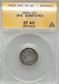 Bust Dimes, 1830 10C Medium 10C--Scratched-- ANACS. XF40 Details. JR-6. NGCCensus: (3/148). PCGS Population (10/158). Mintage: 510,000...